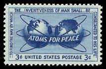 Postzegel uitgegeven ter ere van de 'Atoms For Peace' speech