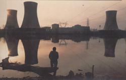 De koeltorens van de 2 kerncentrales op Three Mile Island