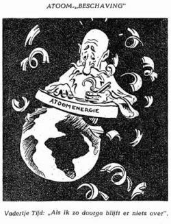 Cartoon uit het eerste nummer Het Atoom, december 1946
