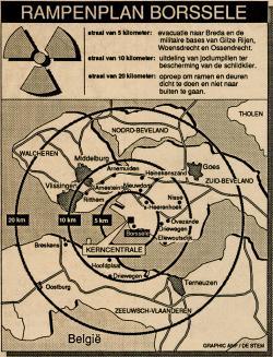 kaartje rampenplan Borssele, met verschillende zone's