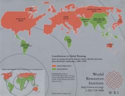 Wereldwijde uitstoot CO2 1990-1999 (zie bijlage voor grote kaart)